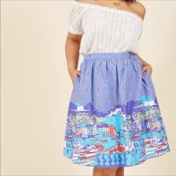 69ab6da5ced Modcloth Sailing in Capri A-Line Printed Skirt